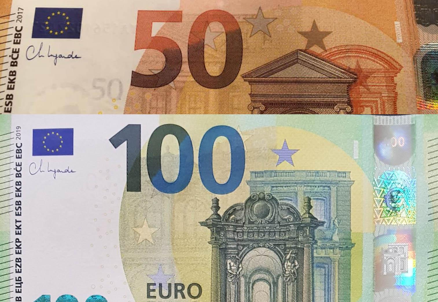 ЕЦБ пусна в обращение 50 и 100 евро с подписа на Кристин Лагард